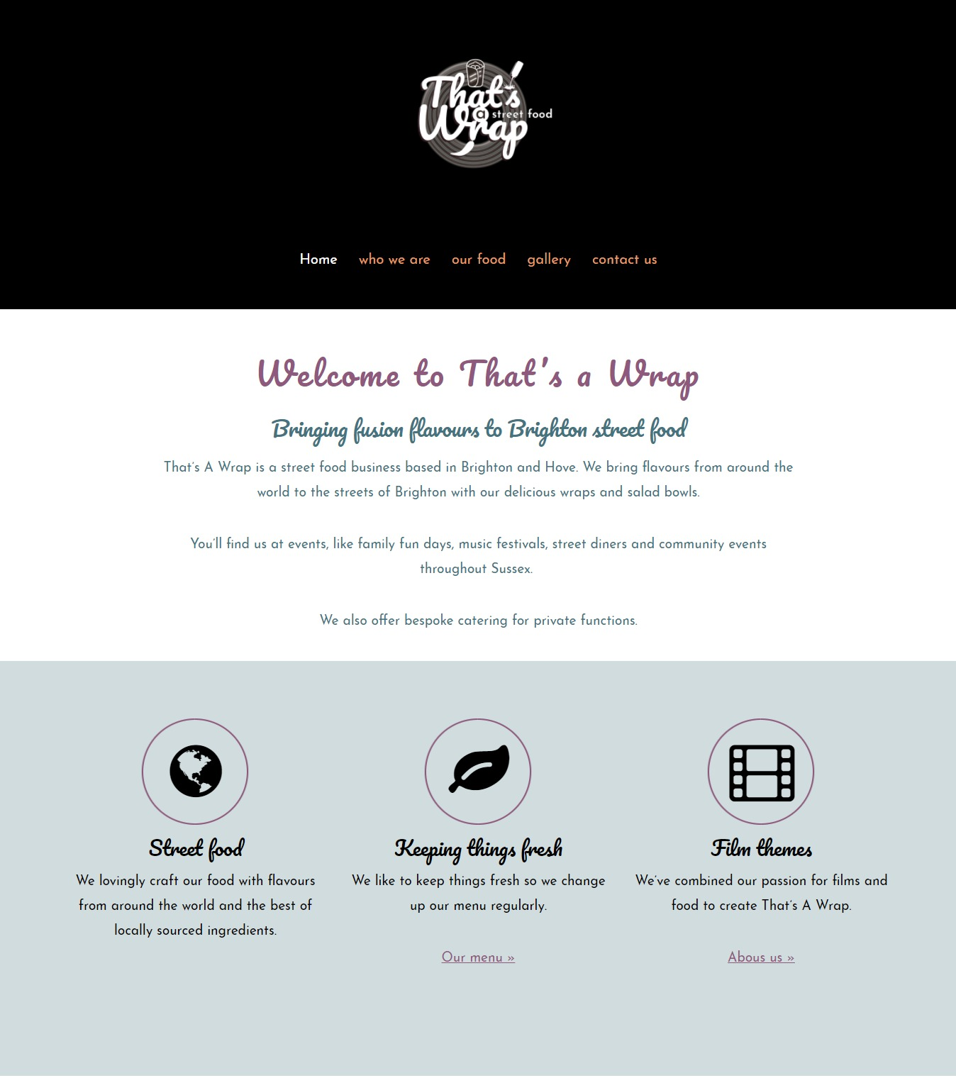 That;s A Wrap Street Food website designed and built by Shoestring Digital